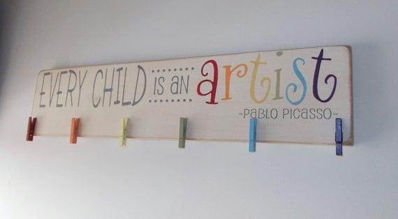 Every Child Is An Artist Children's Art Display Board Wood Sign Brag Board