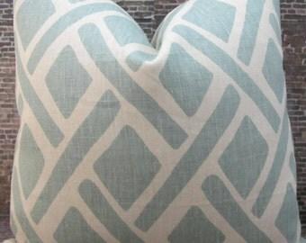 Designer Lumbar Pillow Cover  -  Lumbar, 18 x 18, 20 x 20, 22 x 22, 24 x 24 - Lattice Treads Lagoona Blue Aqua