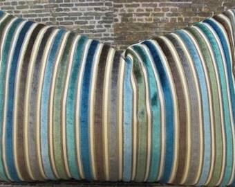 Designer Pillow Cover 12 x 16, 12 x 18 - Multi Velvet Stripe Teal