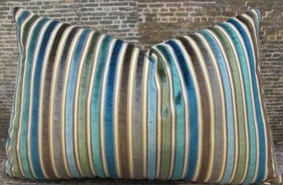 Designer Pillow Cover Lumbar, 16 x 16, 18 x 18, 20 x 20 - Multi Velvet Stripe Teal
