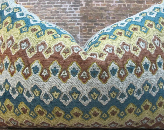 Designer Pillow Cover 10 x 20, 12 x 16, 12 x 18, 12 x 20 - Gisel Flamestitch Chenille Teal Green