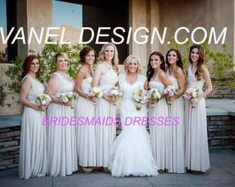 Bridesmaid Dress, One Dress Endless Styles - INFINITY Ivory Bridesmaids CUSTOM Designed CONVERTIBLE Bridesmaids Dress, Short or Long Dress
