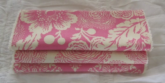 Set of (3) Burp Cloths-Amy Butler-Midwest Modern-Rose, Fuchsia & Cream