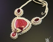 Beadwork, bead embroidery,beaded necklace 'Amelia' with rhodochrosite, agate,agate druzy, rubies, freshwater pearls and silver.