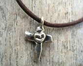 Rustic Artisan Cross Sterling Necklace Leather Strand