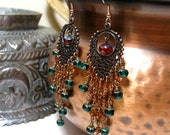 Chandelier Earrings Ruby Emerald and Amber Glass with Copper Filigree Long Earrings Holiday Jewelry