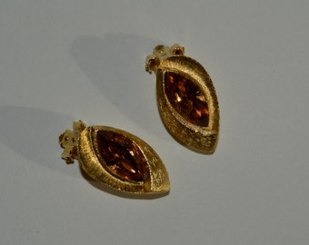 Vintage 1950s Kramer Rhinestone Earrings Topaz Autumnal Wedding Fashions