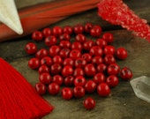 Lipstick Red: Real, Natural Acai Beads / South American Eco- Beads / 10mm, 100 beads / Fresh Red, Round, Large Hole / Jewelry Making Supply