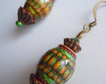 Pineapple Blossom Moody Color Changing Mirage Bead Thermosensitive Trippy Liquid Crystal Earrings