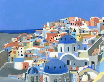 "Santorini: ORIGINAL oil painting 8""x10"" Greece landscape blue white terra cotta grey yellow Europe coastal sunny sky ocean sea modern art"