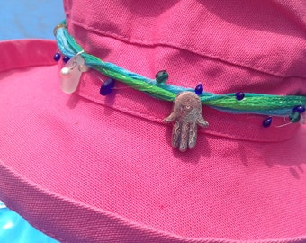 Hamsa mood for your hat and sea glass from Israel