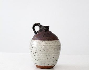studio pottery, vintage glazed jug vase, ceramic two tone pottery