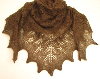 BROWN Tree leafs- hand knitted shawl cashmere