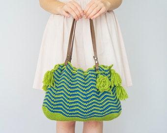 BAG // Blue Bag Green Green Bag Crochet Bag Tribal Bag Zigzag Handbag  Handmade Bag Winter Bag