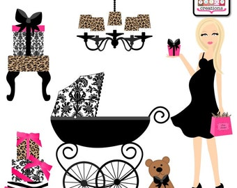 Baby Shower Clipart - Graphic Design - Leopard Damask Mom To Be Blonde Pregnant Mom