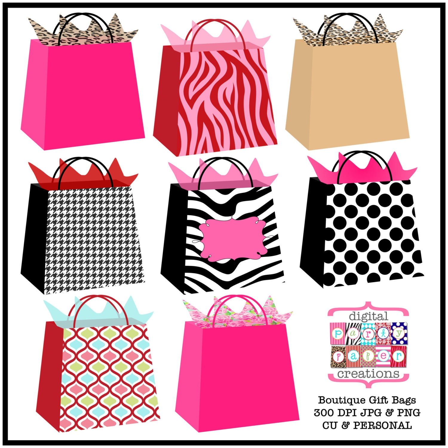 Boutique gift bags clipart printable bag illustration