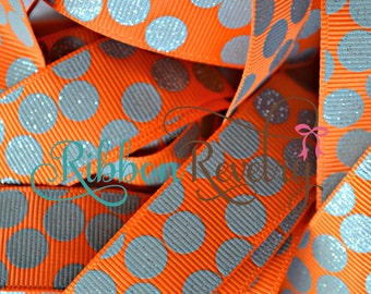 "Charcoal glitter silly dots printed on orange 7/8""  grosgrain ribbon-High Quality"