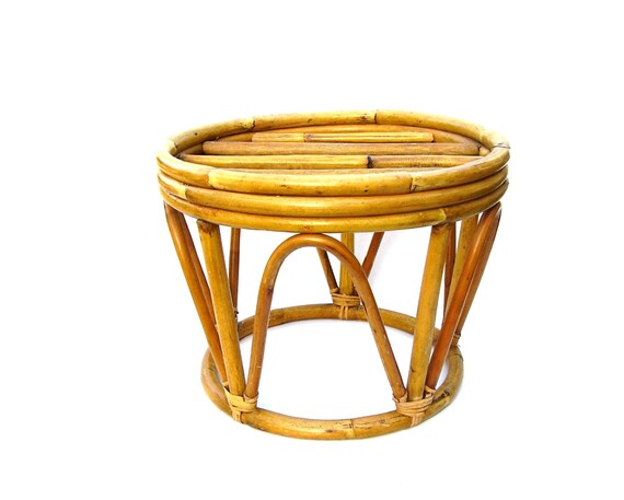 Bamboo Foot Stool Ottoman Side Table Tropical Rattan Furniture