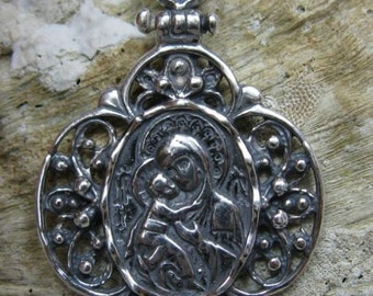 PE000748 Stylish Sterling silver pendant  solid 925 Orthodox Mother of God