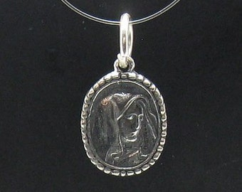 PE000530 Sterling silver pendant   solid 925 Mother of God charm
