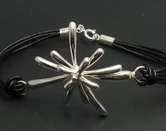 B000113 Sterling Silver Bracelet Solid 925 Flower Natural leather