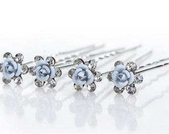 Wedding Bridal Crystal Faux Pearl Flower Shiny Hair Spins Pins