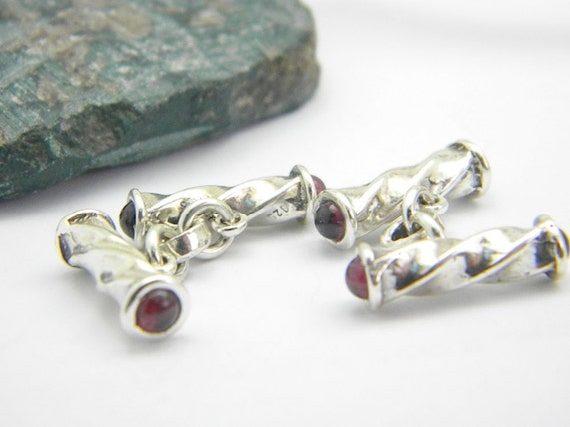 Sterling silver cufflinks bars with garnet stone cuff link ,men accessories cuff link, tbar cufflinks, men's jewelry, gift for him