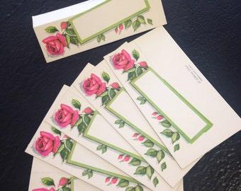 Vintage Rose Place Cards Unused Set of 6