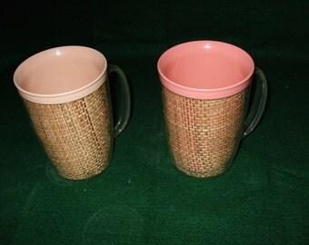 Vintage Melamine Burlap Mugs