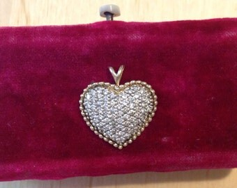 Estate find 1/2 CTTW Diamonds Heart pendent micro pave 14k gold brilliant colors