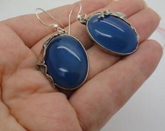 New Israel Handmade Fabulous Sterling Silver Blue Agate Earrings (H 234)