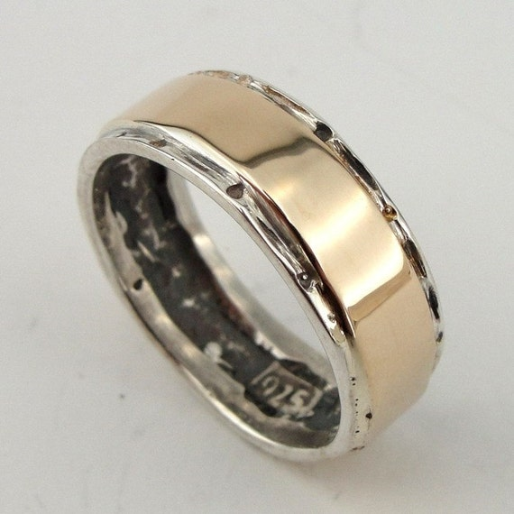 Amazing Fine Sterling Silver unisex band with yellow gold size 8 (s r486
