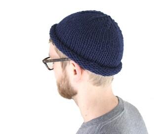 Fisherman Beanie, Hand Knit in Deep Sea Navy Blue 100% wool, Westlake Designs