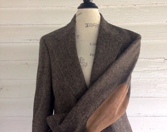 Vintage Suit Jacket w Elbow Patches - Brown and Black Professor's Jacket w Brown Suede Elbow Patches