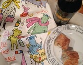 Dogs Shop Paris Dish Towel Handmade on Nantucket Francophile Dogs Mutts, Paris Nadine Westcott Original Design Illustrator Children's Books