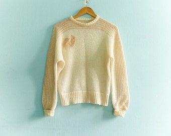 Vintage women's sweater top / cream white / knit knitted sweater / bat wing sweater / crop cropped sweater top / 1980s 80s / medium small