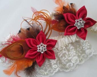 Valentine Red Wedding Garter, Burnt Orange Peacock Garters, Ivory Lace Garters, Rustic Wedding Garter, Barn Wedding, Country Bride