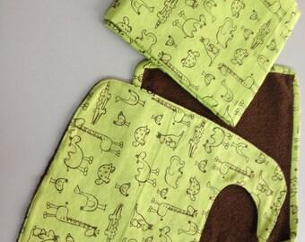 Baby Bib/Washcloth/Blanket Set_Brown Safari