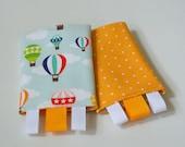 Tula Drool Pads, Reversible, Float Away/Yellow Hexagons