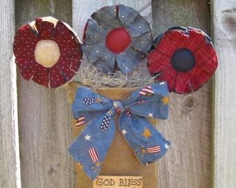 "Americana Burlap Door Hanger - Primitive Flower Pot - ""God Bless America"" - with Patriotic Flowers - July 4th Decor - Fabric Bouquet"
