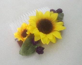 Bridal hair accessories Sunflower hair comb summer weddings flower girl hairpiece silk sunflowers purple accents Woodland