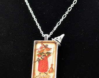 Victorian Halloween Witch with Broom Resin Pendant