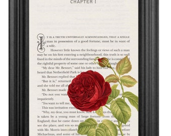 Pride and Prejudice Book Page Wall Art Print