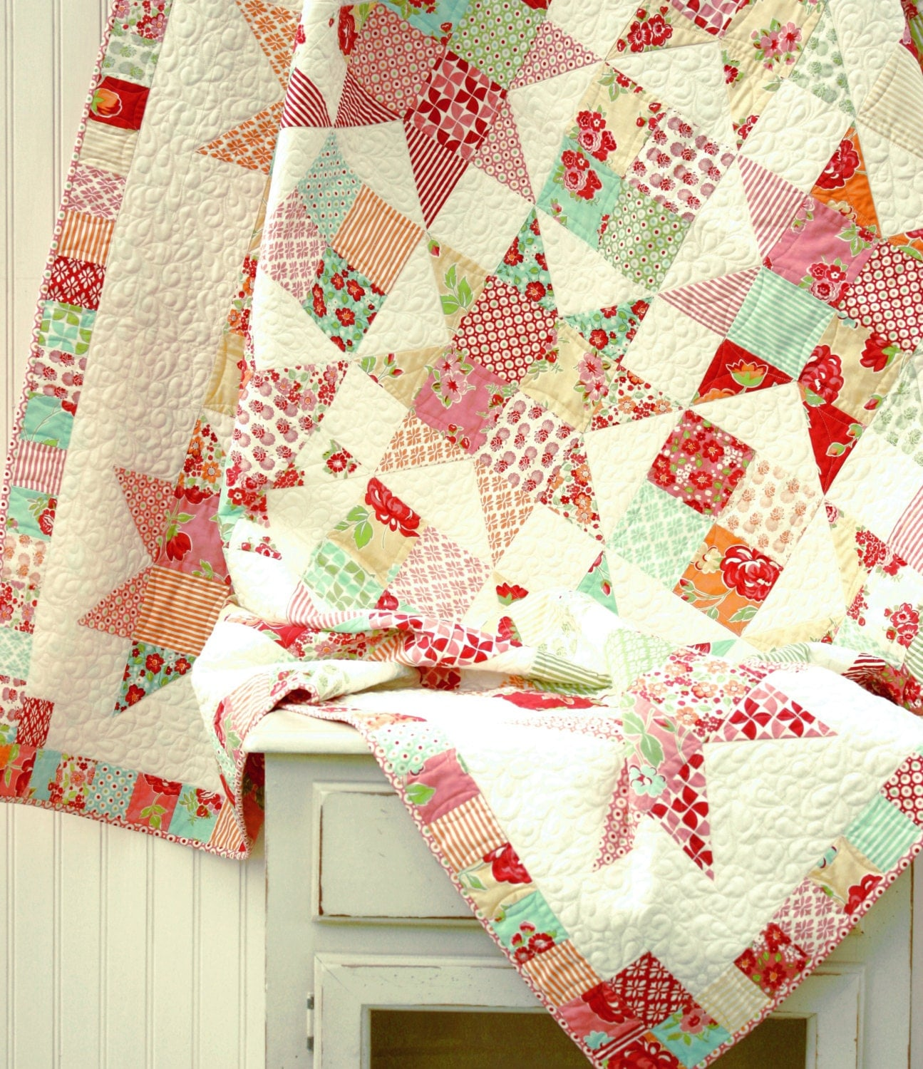 Twin Size Marmalade Star Quilt Scrappy Quilt Ready To Ship