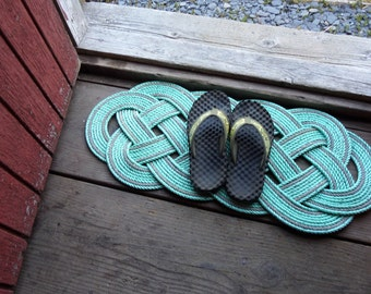 "Eco-Friendly Green with Gray  Accents Rope Rug 34"" x 14"" Recycled Rope Doormat Nautical Beach Coastal"
