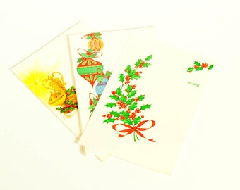 Vintage note cards, 17 Brightnotes mid century Christmas holiday fold up notes with ornaments, holly and gold