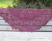 Ours is a Forbidden Love - Large deep red half-circle shawl