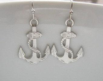 ON SALE / Nautical Anchor Silver Dangle Earrings, Nautical Earrings, Anchor Earrings, Gift