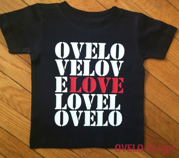 LOVE grid OVELO T-Shirt Printed White and Red on Black short sleeve