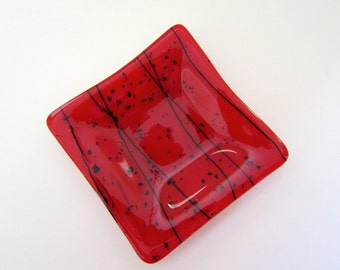 Red with Black Streamers Fused Glass Dish